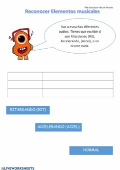 Interactive worksheet Ritardando y Accelerando