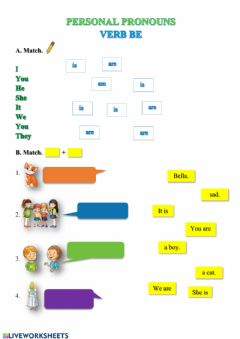 Interactive worksheet Personal pronouns, verb be