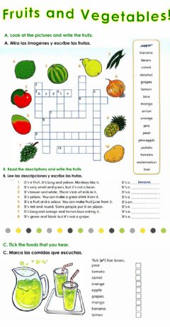 Interactive worksheet Fruits and Vegetables!
