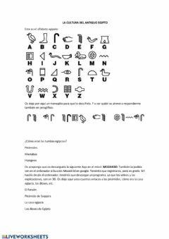 Interactive worksheet Cultura egipcia