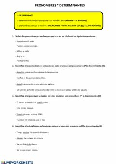 Interactive worksheet Determinantes y pronombres