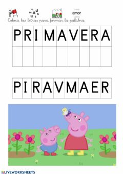 Interactive worksheet Coloca las letras