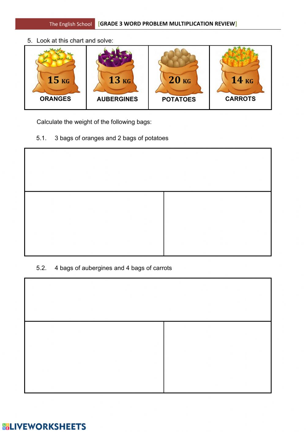 Grade 3 multiplication word problems - Interactive worksheet