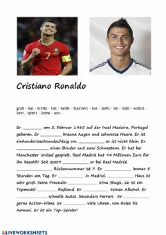 Interactive worksheet Christiano Ronaldo
