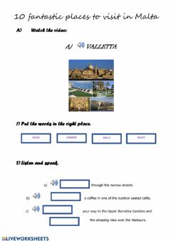 Interactive worksheet 10 things to do in Malta