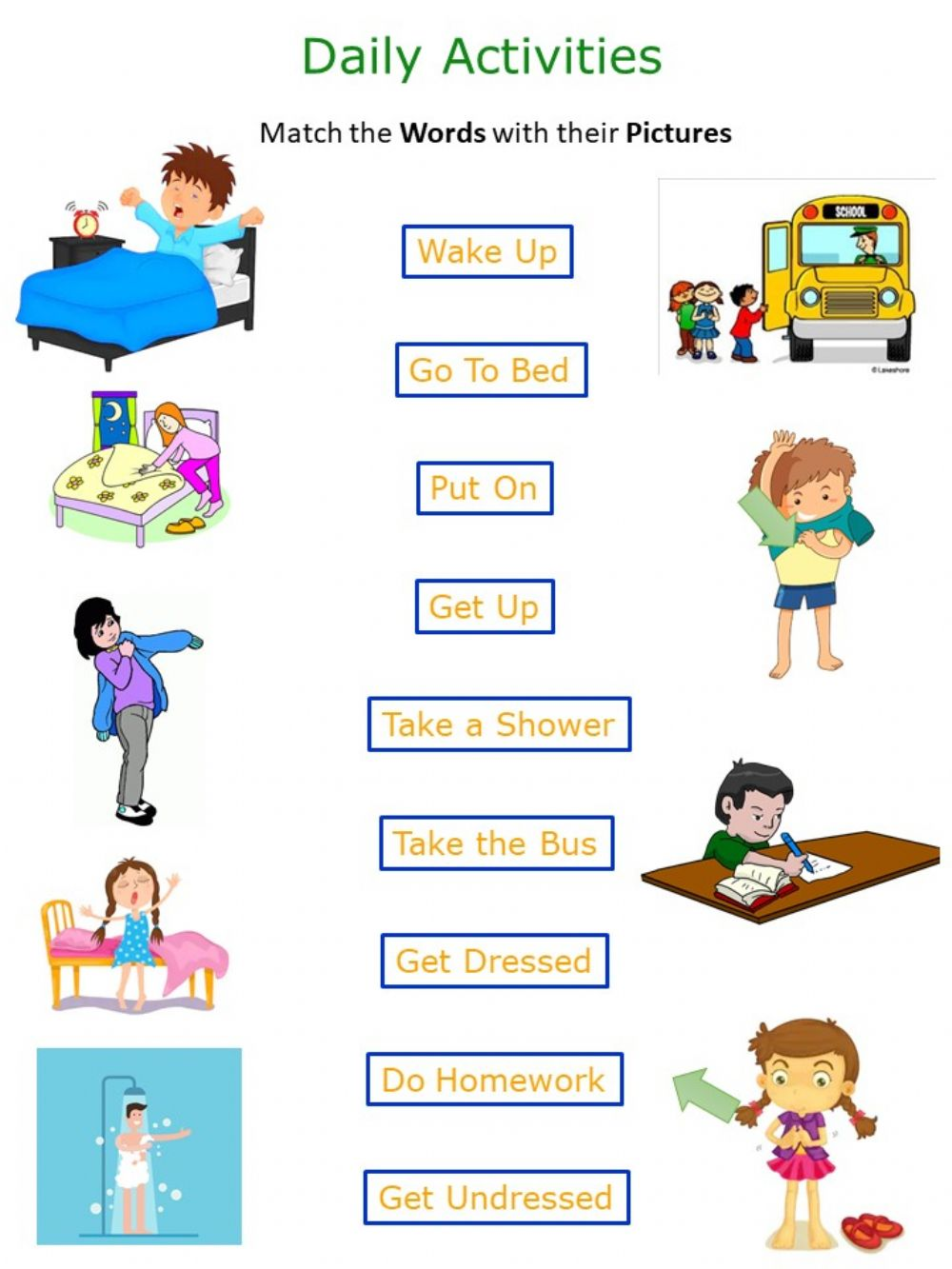 Daily Routines worksheet for Grade 3