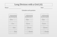 Interactive worksheet Long division with grid A