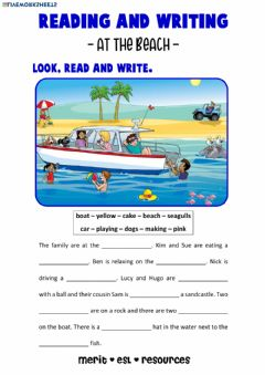Ficha interactiva Reading and Writing - At the Beach