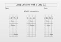 Interactive worksheet Long division with grid C