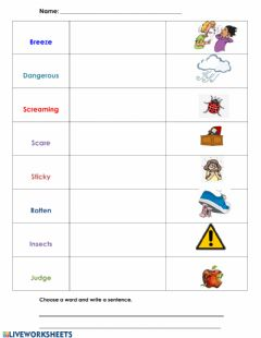 Interactive worksheet Vocabulary Words: Diary of a Spider