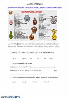 Interactive worksheet Ejercicios de onomatopeyas