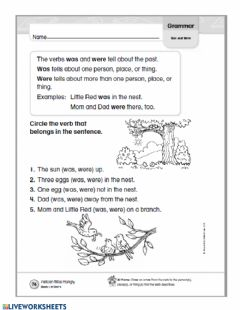 Interactive worksheet Using was and were