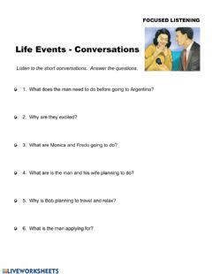 Ficha interactiva Life Events - Conversations