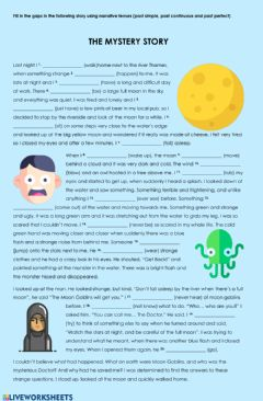 Interactive worksheet The Mystery Story - Narrative Tenses