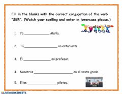 Ficha interactiva Using the Verb -SER- by Yvonne Daniel-Baron