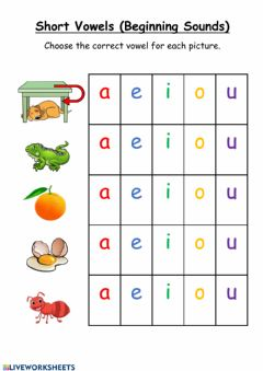 Interactive worksheet Beginning Sounds Vowels