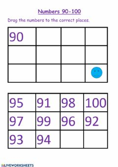 Interactive worksheet Numbers 90- 100