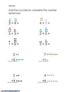 Interactive worksheet Addition with Counters 2