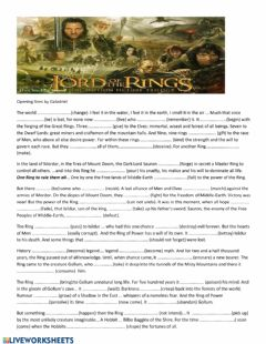 Ficha interactiva Lord of the Rings opening scene