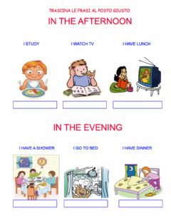 Interactive worksheet Daily routines: in the afternoon, in the evening