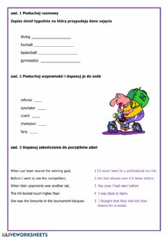 Interactive worksheet Sport (listening practice and vocabulary)