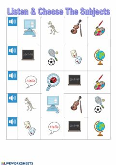 Interactive worksheet Listen and choose subjects