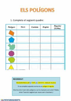 Interactive worksheet POLÍGONS 4t
