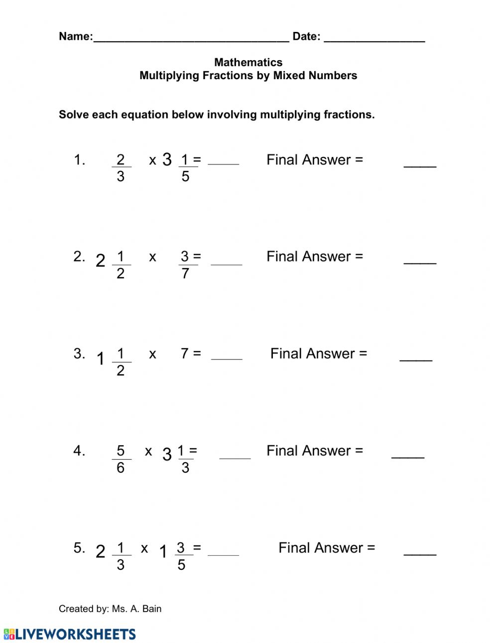 Multiplying Fractions by a Mixed Number - Interactive ...
