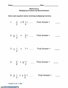 Interactive worksheet Multiplying Fractions by a Mixed Number