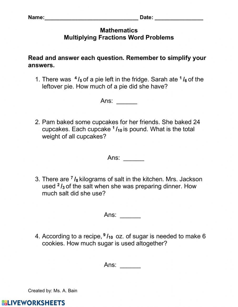 - Multiplying Fractions Words Problems - Interactive Worksheet