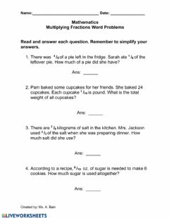 Interactive worksheet Multiplying Fractions Words Problems