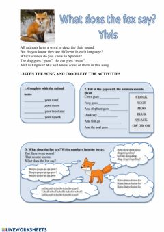 Interactive worksheet What does the fox say?