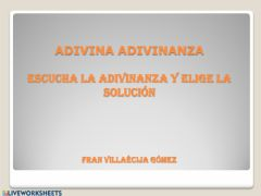 Interactive worksheet Adivina adivinanza