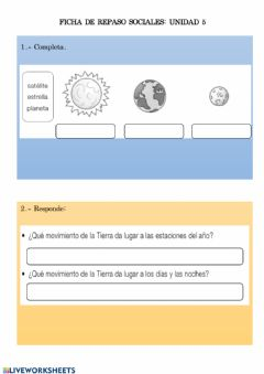 Interactive worksheet El universos