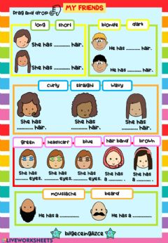 Interactive worksheet Describing People (Drag-drop)