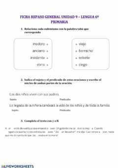 Interactive worksheet Repaso general unidad 9 - 6ºprimaria