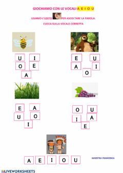 Interactive worksheet Vocale iniziale....