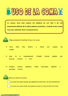 Interactive worksheet Uso de la coma