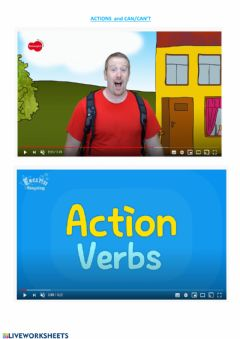 Interactive worksheet Action - can-can't
