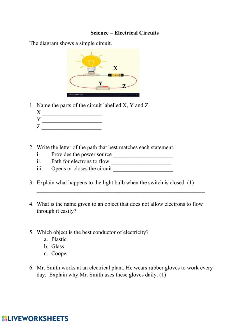 Simple Electric Circuit worksheet Within Electrical Power Worksheet Answers