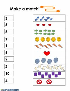 Interactive worksheet Match 1-10