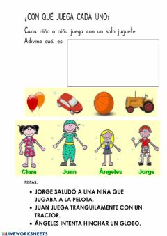 Interactive worksheet ¿Con qué juegan?
