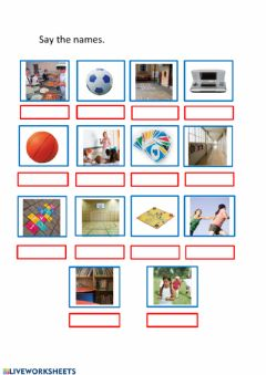 Ficha interactiva Say the names of games and places at school