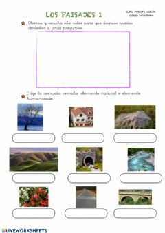 Interactive worksheet Elementos Naturales y humanizados