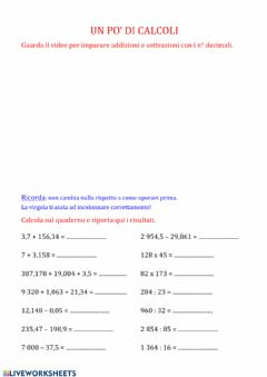 Interactive worksheet Decimali in colonna