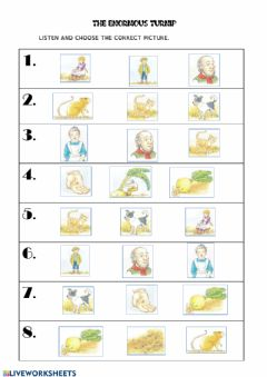 Interactive worksheet the enormous turnip listening and matching