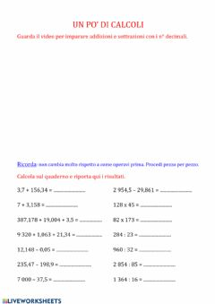 Interactive worksheet Calcoli con i decimali