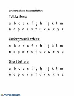 Interactive worksheet Identifying Tall, Short, and Underground Letters