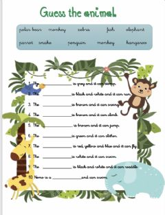 Interactive worksheet Animals action and colours 3