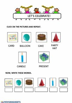 Interactive worksheet Let's celebrate
